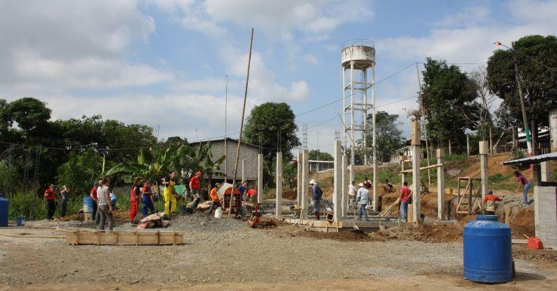 Een Ecuadoriaanse bouwplaats, eerder deze zomer