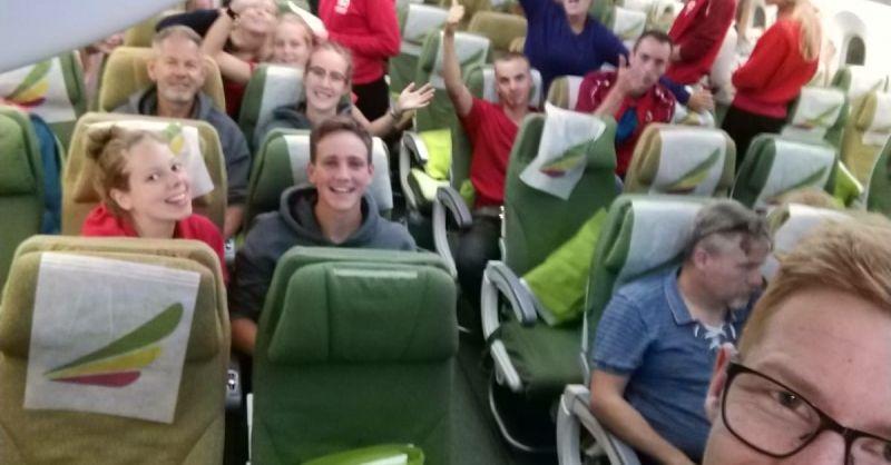 Foto in het vliegtuig