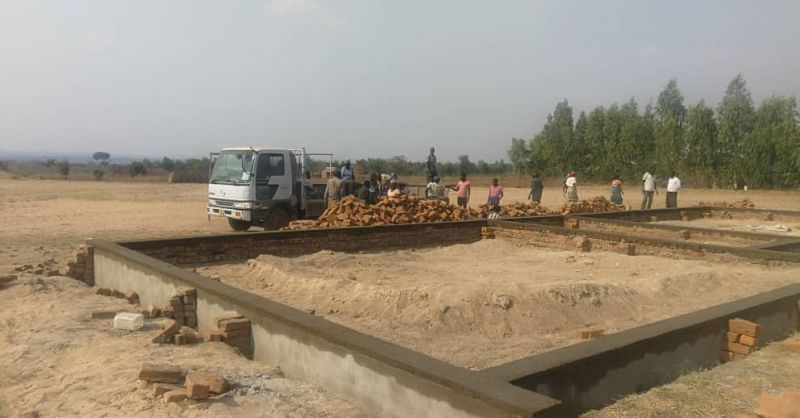 Materials for the foundation being delivered