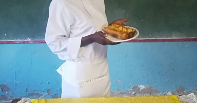 Nkosazana after her bakery practical exam
