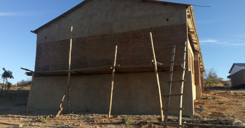 Side view of the classroom block: also nicely plastered