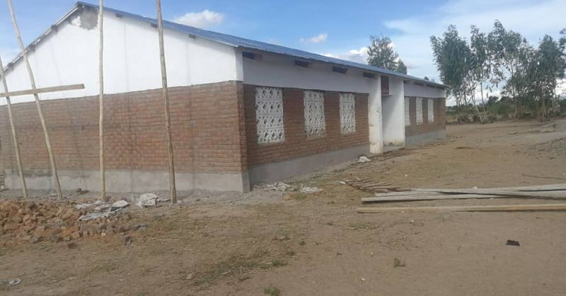 Side view of the classroom block already finished