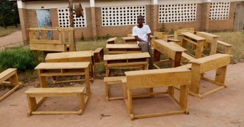 Desks outside the school