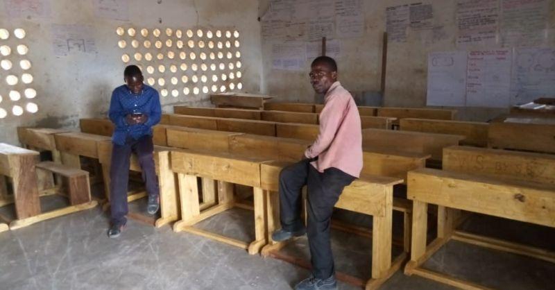 Desks inside the school