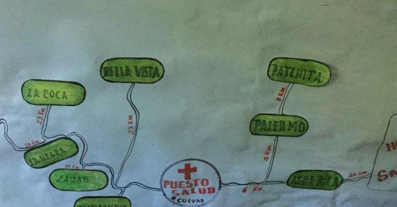 Huidige kliniek met de dorpen die ze bedienen.