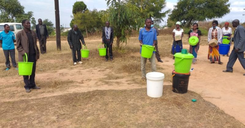 The village received 10 buckets + soap for further training
