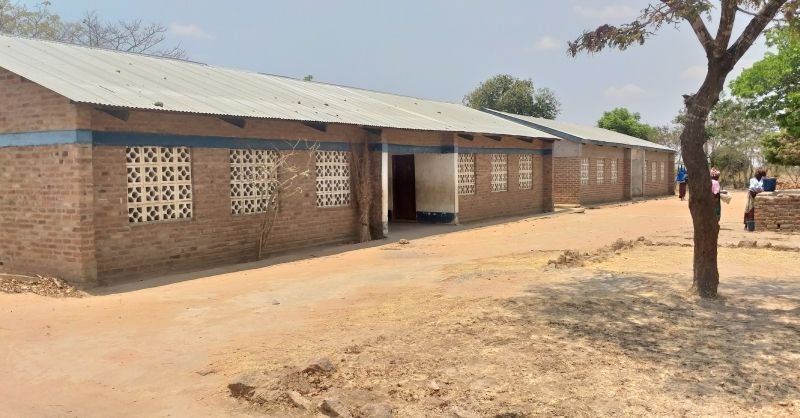 The two classrooms built by WS