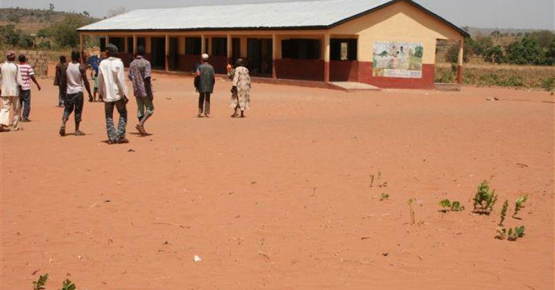 Het afgebouwde schoolgebouw