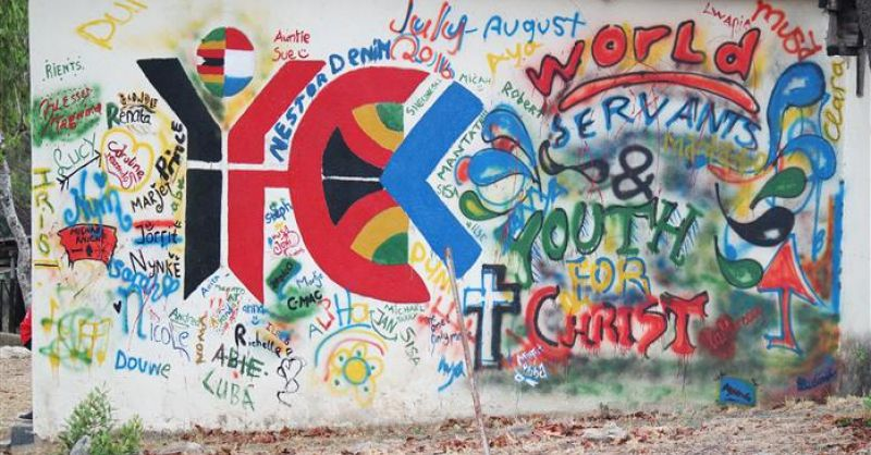 Muurschildering YFC logo