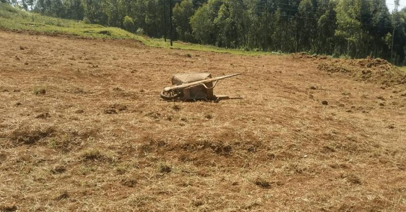Het terrein wordt schoongemaakt