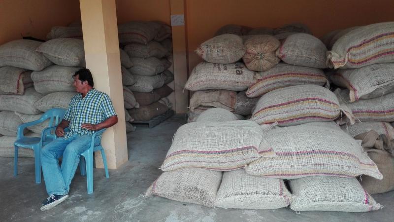 Voorbeeld van een opslagruimte voor de gedroogde cacao
