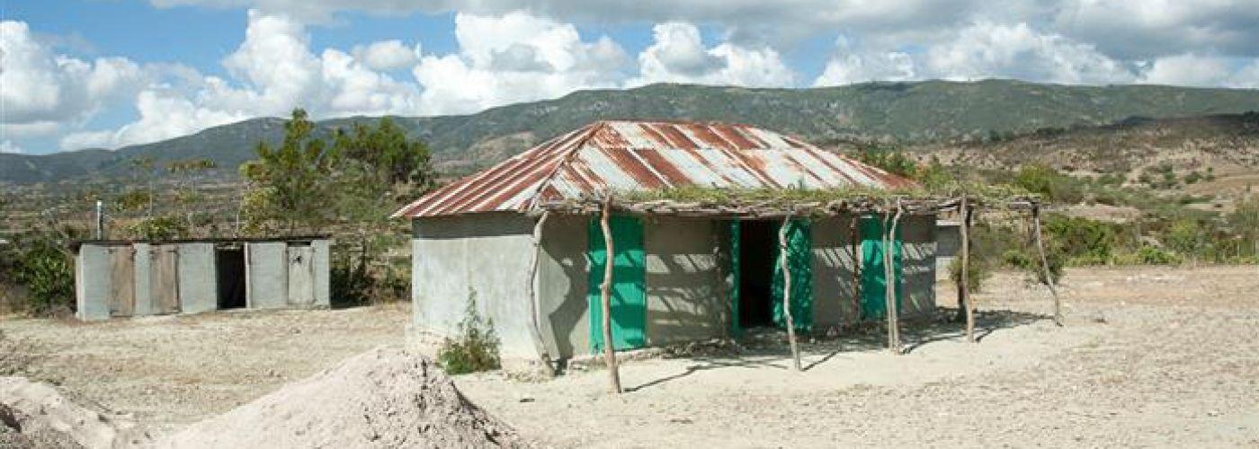 Een van de gebouwen op het schoolterrein