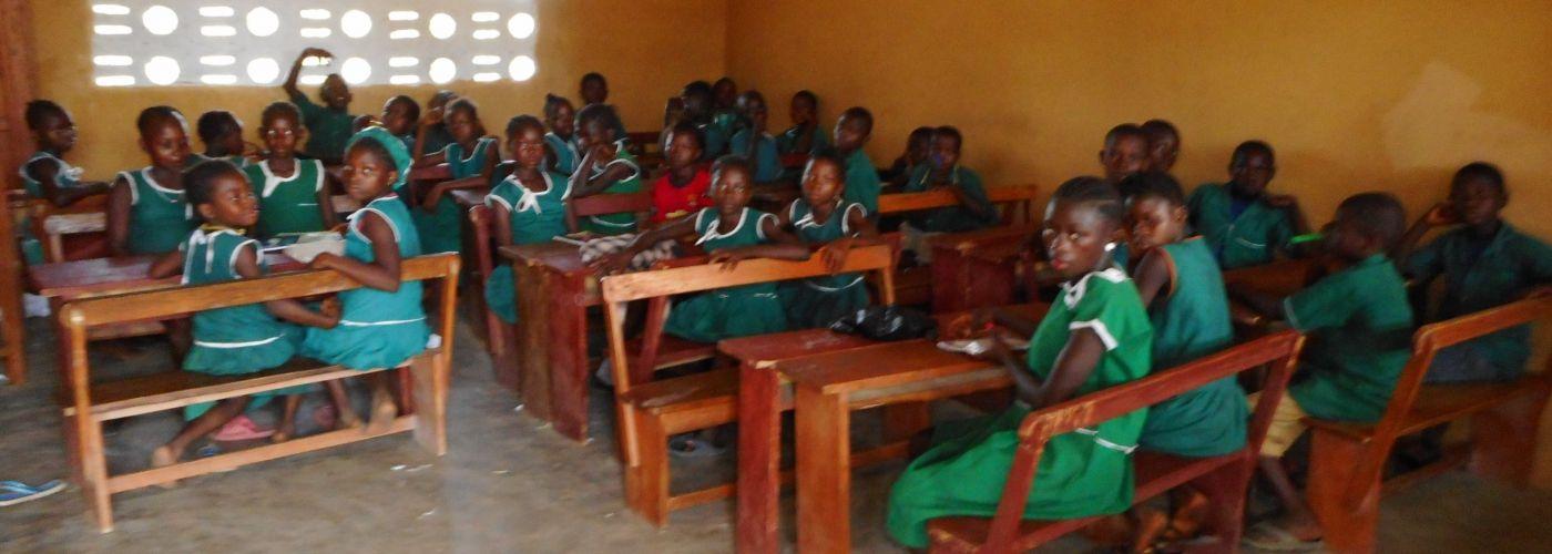 Naar school in het nieuwe klaslokaal
