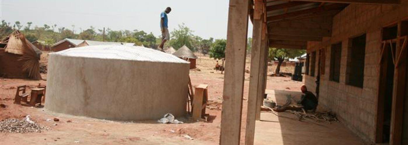 Watertank in aanbouw